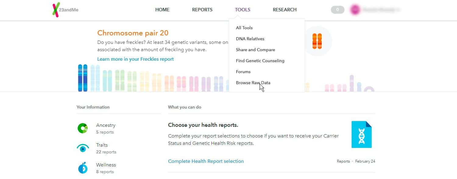 Download raw data from Step 2 23andMe