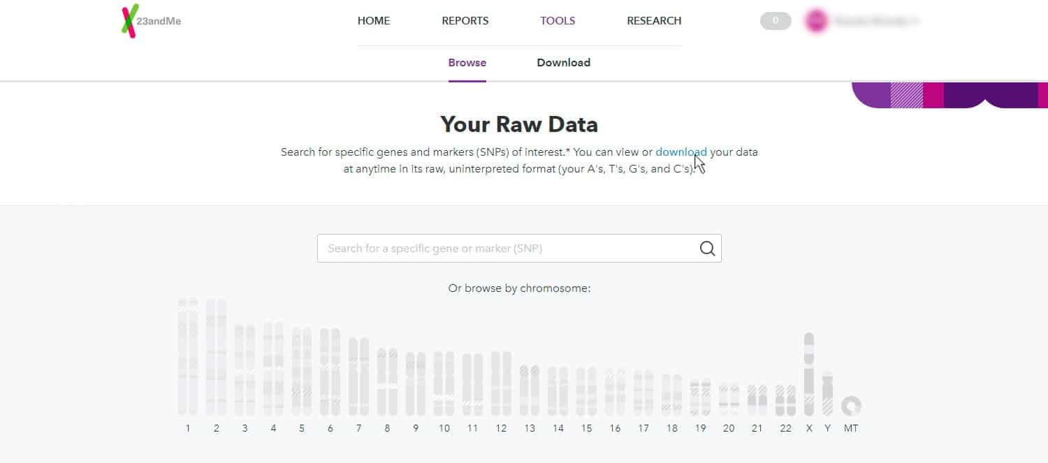 Download raw data from Step 3 23andMe