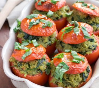 Spinach Quinoa Stuffed Tomatoes